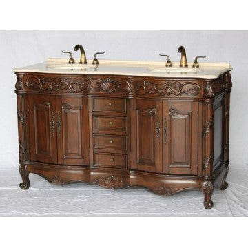 "Antique 60"" Walnut Bathroom Sink Vanity -7760-BE"