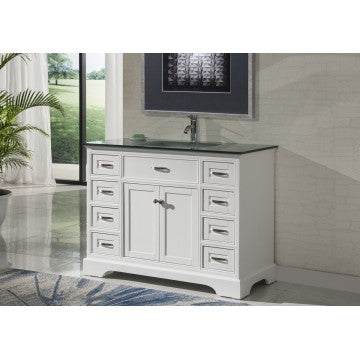 "Contemporary 46"" White Bathroom Sink Vanity -2422"