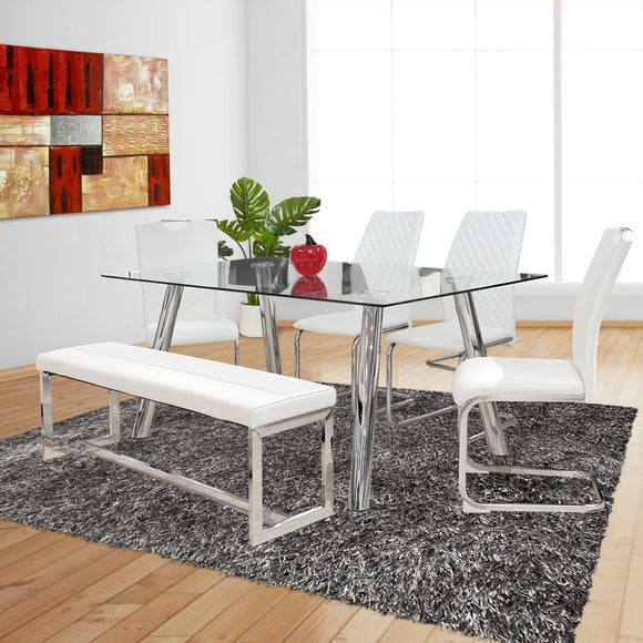 Rectangular Dining Table - Tempered Glass top with chrome legs