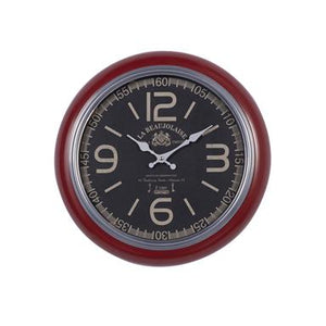 Rustic Round Red Iron And Wood Vintage Wall Clock
