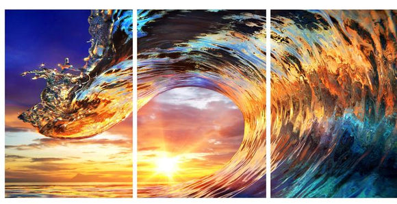Tempered Glass Art - 3PC Sunset Wave Wall Art Decor