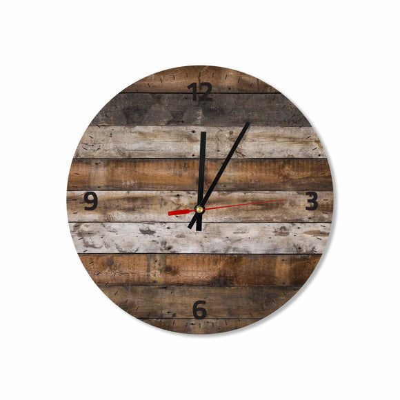 Rustic Wooden Background Round/Square Acrylic Wall Clock