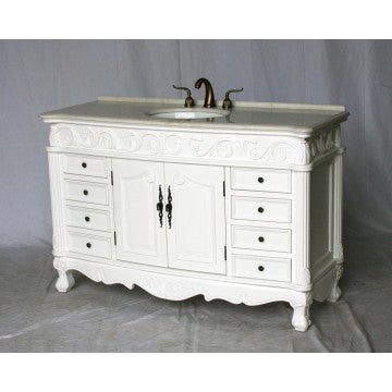 "Antique 54"" White Bathroom Sink Vanity -3169M-WT"