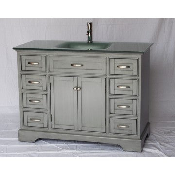 "Contemporary 46"" Gray Bathroom Sink Vanity -2422"