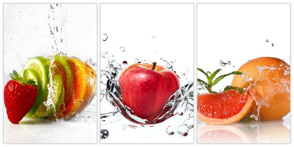 Tempered Glass Art - 3PC Fruit Splash Wall Art Decor
