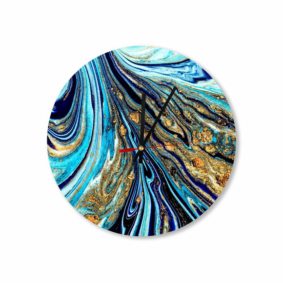 Royal Blue-Gold Abstract Paint Round/Square Acrylic Wall Clock