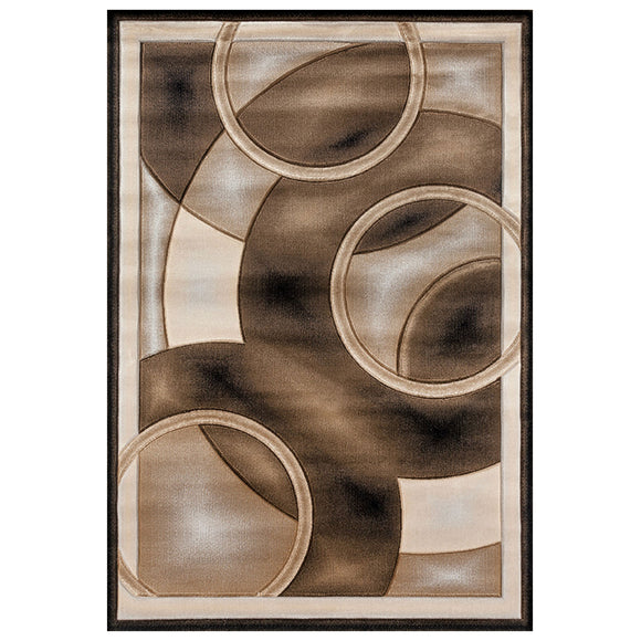 Geometric Modern Yellow and Beige Circles Rug