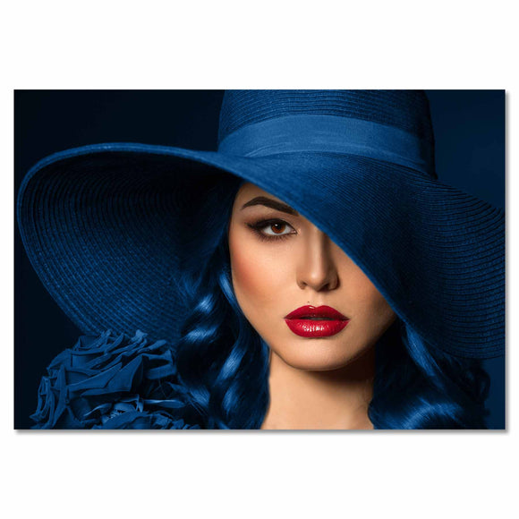 Tempered Glass Art -  Women with Blue Hat Wall Art Decor