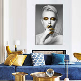 Tempered Glass Art - Golden Women Wall Art Decor