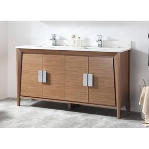 "Larvotto 60"" Wheat Bathroom Sink Vanity -CL-22EB60-QZ-MIR"