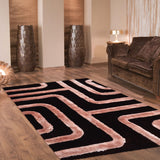 3D Modern Brown and Camel Shaggy Rug