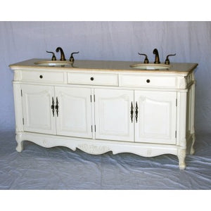 "Antique 70"" White Bathroom Sink Vanity -3169-261 BE"