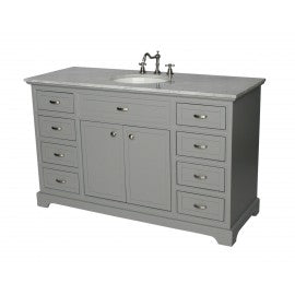 "Contemporary 56"" Gray Bathroom Sink Vanity -2422-56-GY"