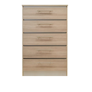 Walnut Veneer Chest with 5 Drawers