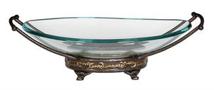 "17"" Oval Glass Bowl on Metal Base - Home Decor"