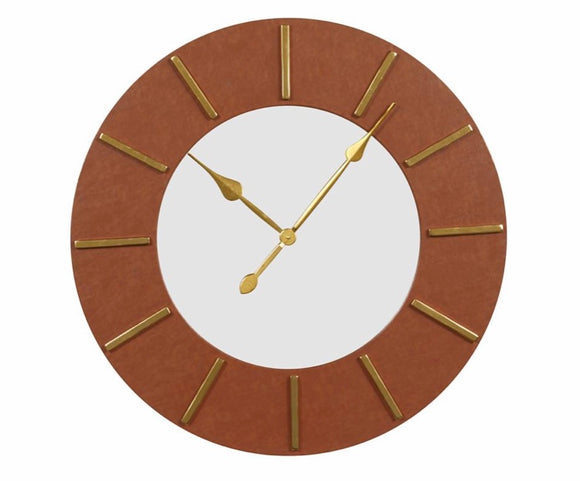 Large Round Brown Faux Leather Wall Clock with Gold Detail