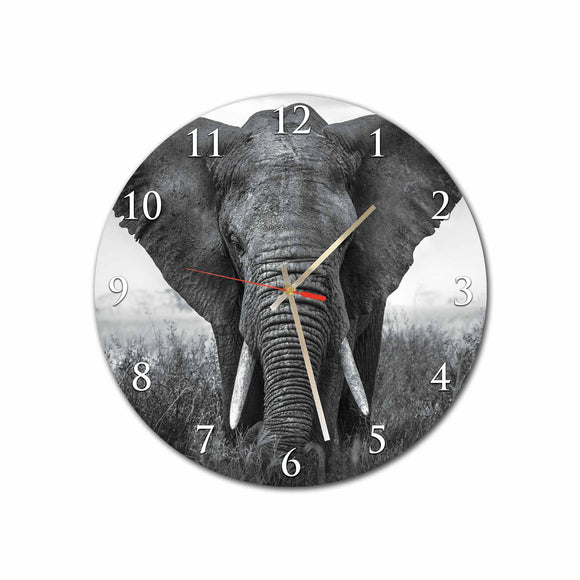 Black & White Elephant Round/Square Acrylic Wall Clock
