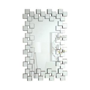 "Frameless Wall Mirror With Staggered Tiles Silver - 31""x 45"""