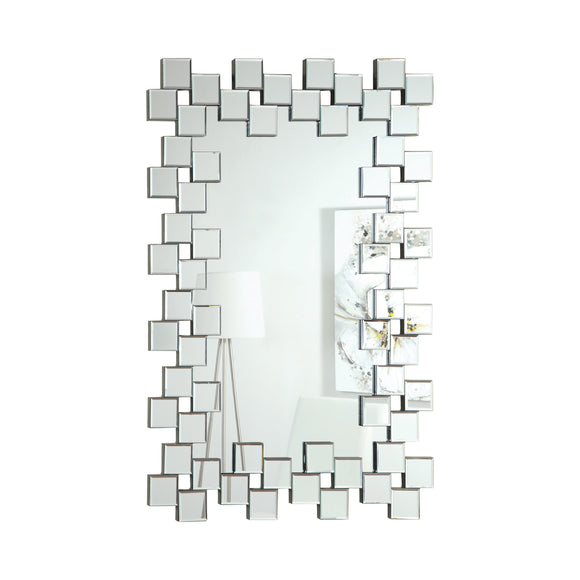 Frameless Wall Mirror With Staggered Tiles Silver - 31