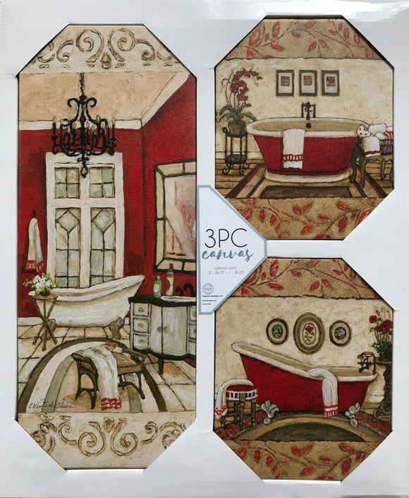 3PC Bathroom set Wall Art Decor