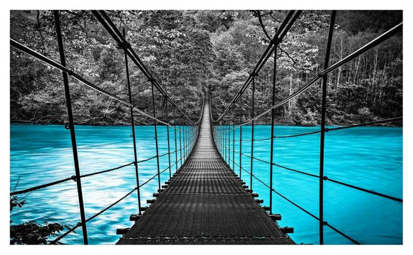 Tempered Glass Art  - Blue Water Bridge Wall Art Decor