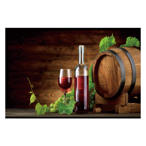 Tempered Glass Art - Fruit And Wine Wall Art Decor