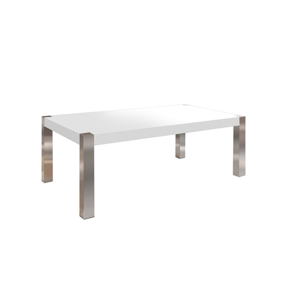 White High Gloss Coffee Table with Rectangular Stainless steel Leg