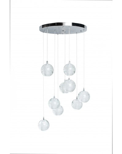 Sparkling Spheres Chandelier - 9 LED Lighting - Crystal and Chrome Metal