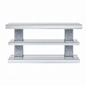 "63"" Noralie Console Table - Mirrored & Faux Diamonds"