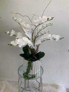 Orchids Artificial Arrangement in Ceramic Vase - Floral & Greenery