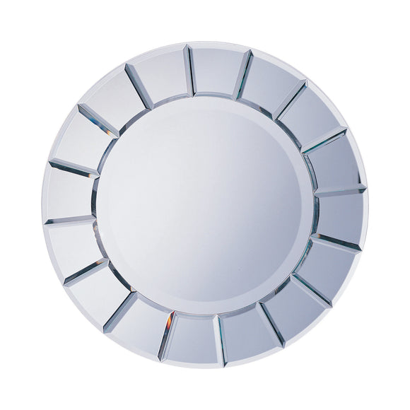 Silver Round Sun-Shaped Mirror 30 inch Diameter
