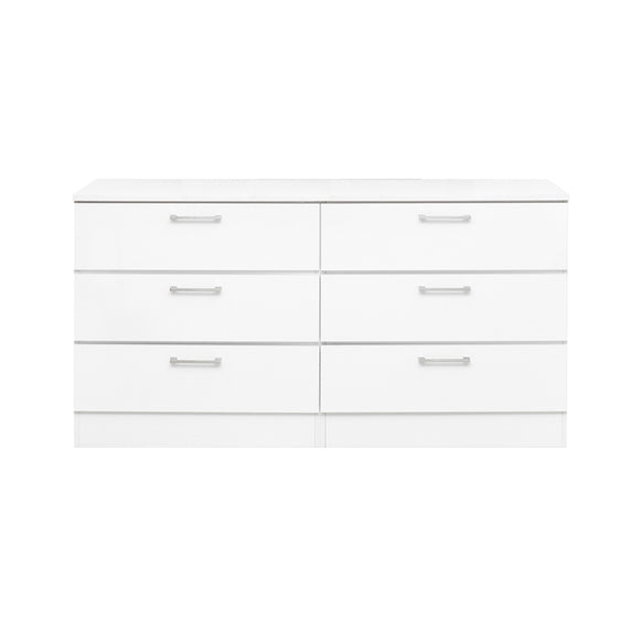White Lacquer - 6 Drawers Dresser