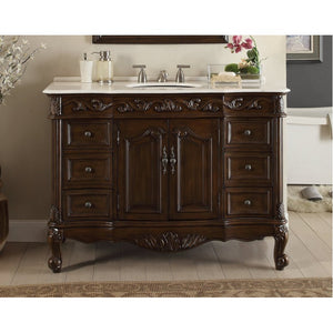 "Beckham 42"" Dark Brown with White Top Bathroom Sink Vanity -SW-3882W-TK-42"
