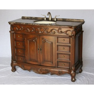 "Antique 54"" Walnut Bathroom Sink Vanity -3169M-MXC"