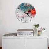 Blue-Red Clouds Abstract Round Acrylic Wall Clock