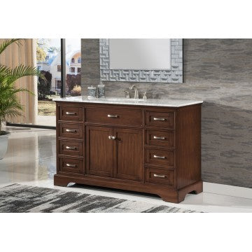 "Contemporary 56"" Walnut Bathroom Sink Vanity -2422-56 SK"