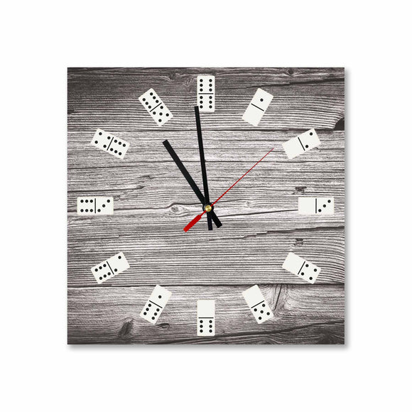 Wooden Dominoes Round/Square Acrylic Wall Clock