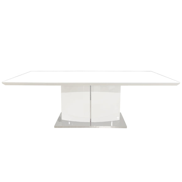 Rectangular Dining Table White High Gloss and Stainless Steel Base
