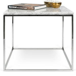 Marble finish End Table with Chrome Base