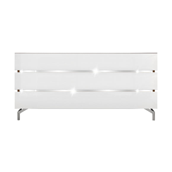 Black Melamine and White - 3 Drawers Dresser