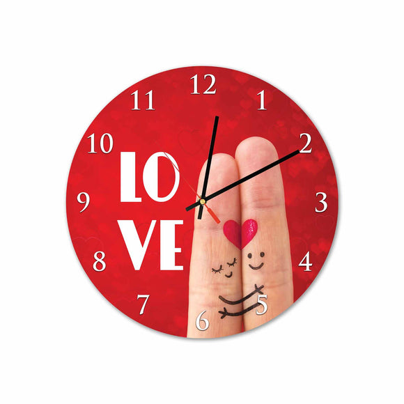 Fingers in Love Round Acrylic Wall Clock