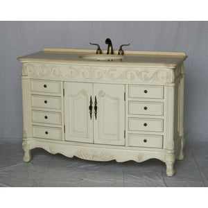 "Antique 54"" White Bathroom Sink Vanity -3169M-261"