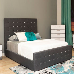 Light Grey Queen Platform Furniture Bed