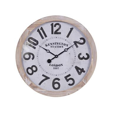 Large Round Wood Wall Clock With Numerals