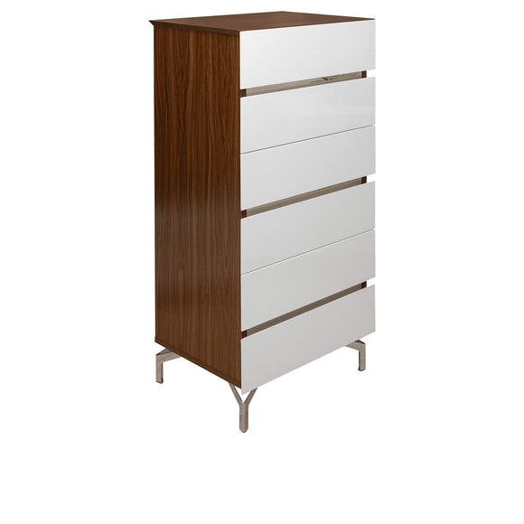 Walnut Veneer Chest with 6 Drawers