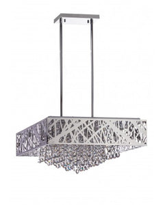 Square Chandelier - Lighting - Chrome and Crystal