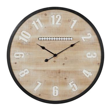 Extra Large Round Wood Wall Clock With Black Metal