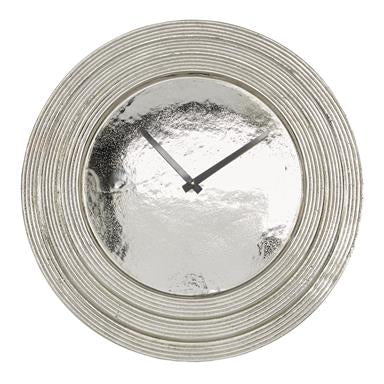 Round Silver Aluminum Layered Rim Wall Clock