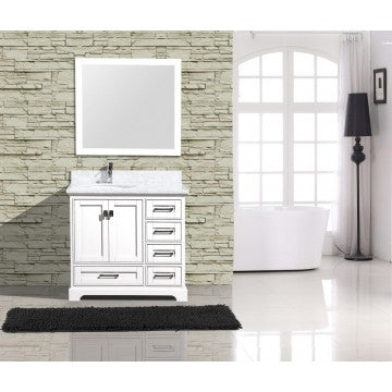 "Cambridge 36"" White Bathroom Sink Vanity -Cambridge 36"