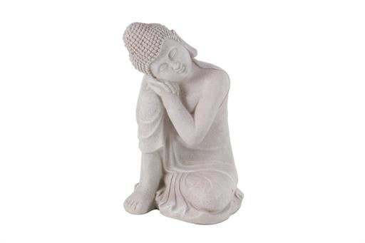 20 X 13 Inch Gray Resin Sitting Buddha Sculpture - Home Decor